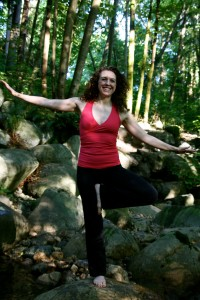 Laura wobbling on one leg in tree