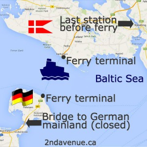 Map of the Danish/German ferry crossing