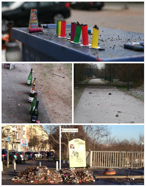 The remnants of the Monumentenbrucke Silvester celebrations