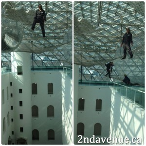 Two images of Laura at the in orbit exhibit