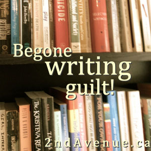 Bookcase with 'begone writing guilt' text