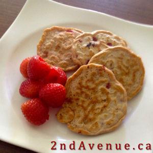 Banana berry pancakes with strawberries