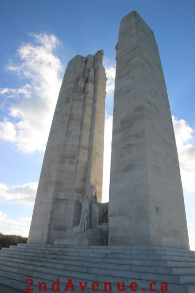 The limestone Monument at Vimy Ridge