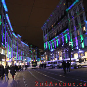 Strasbourg street with buildings lit for Christmas