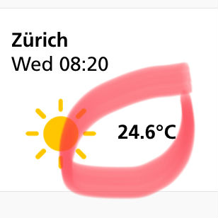 Weather in Zurich: Wed 8:20, sunny and 24.6°C